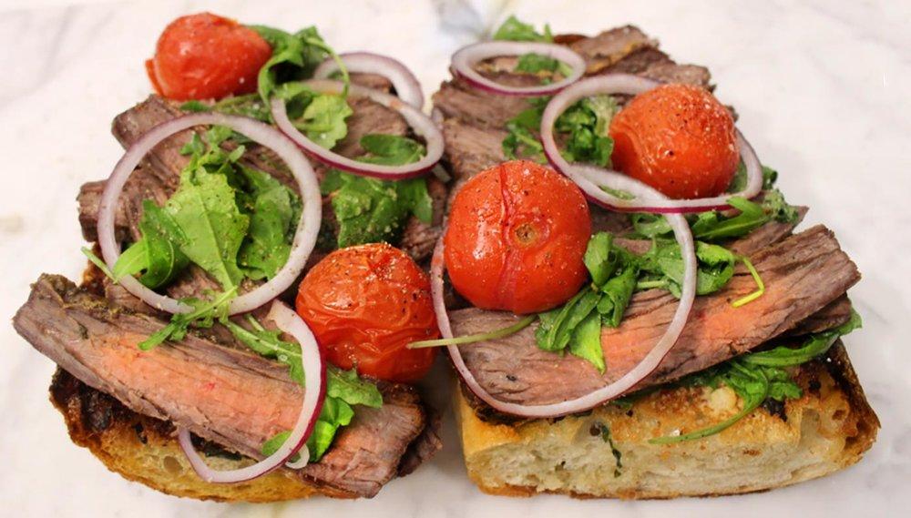 Open Faced Garlic Bread Steak Sandwich