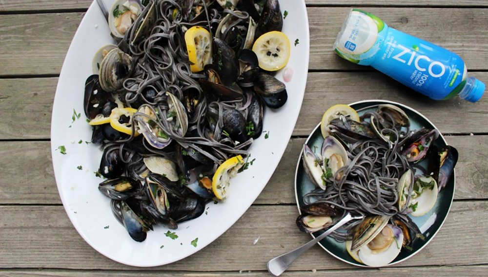Coconut Water Shellfish Squid Ink Pasta
