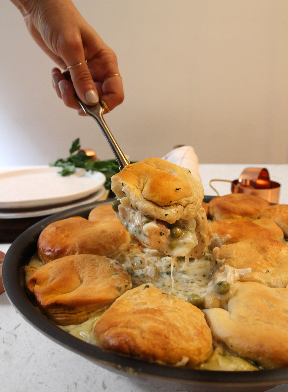 Skillet Chicken And Biscuits Pot Pie