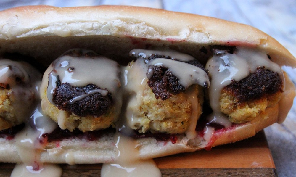 Thanksgiving Leftover Turkey And Stuffing Meatball Sub