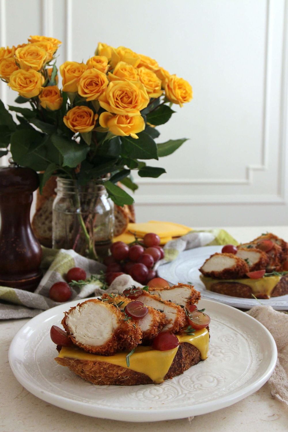 Fried Chicken And American Cheese Open-Faced Sandwich