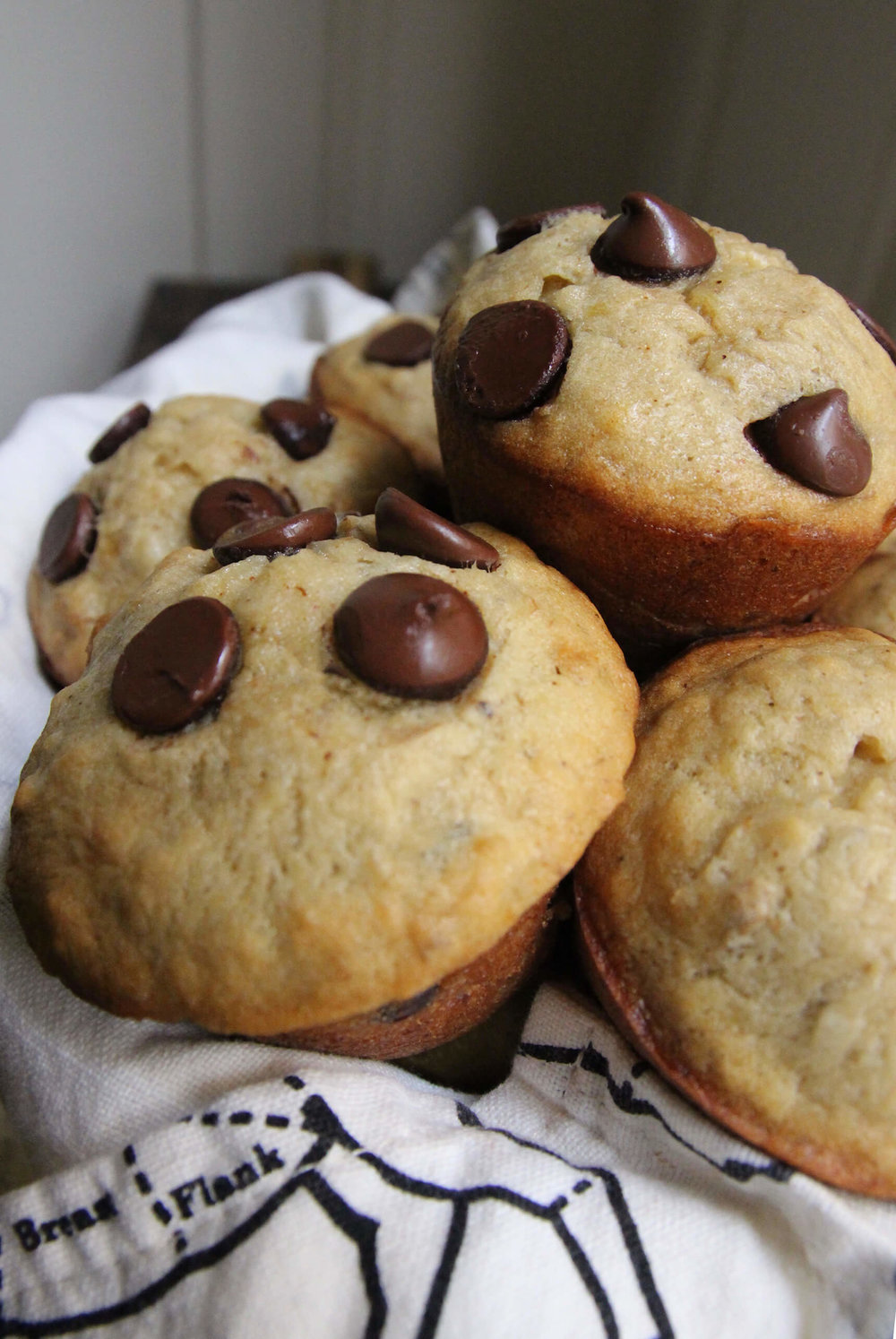 Chocolate Chip Walnut Banana Muffins