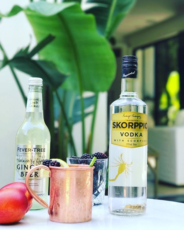TGIF! This weekend, give your Mule an upgrade with muddled blackberries and peaches. . . . . . . #skorppiovodka #vodka #scorpion #scorpio #shot #liquor #smooth #5timesdistilled #cocktails #drinks #bartender #happyhour #nightclub #bar #tipsy #tipsybartender #wswa #tgif #rndc #southernwineandspirits #domeq #wineandspirits #nabca #cocktailhour #cocktailgramhh #moscowmule #berrymule #tgif #memorialdayweekend #bbq #fevertree