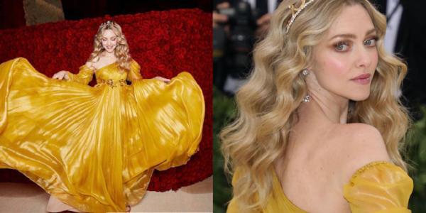 Amanda Seyfried in een jurk van Prada. Haar haren in prachtige losse krullen en de look wordt perfect afgemaakt met een tiara.