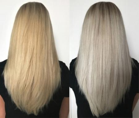 Bovenstaand resultaat is verkregen met de Eleven Australia Blond Shampoo & Treatment. De inwerktijd van de shampoo is 4 minuten en de inwerktijd van het treatment 2 minuten. Dit is uiteraard per persoon verschillend.