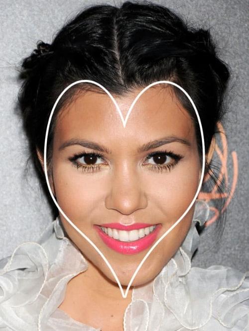 Kourtney Kardashian heeft een hartvormig gezicht. Bron: Pinterest