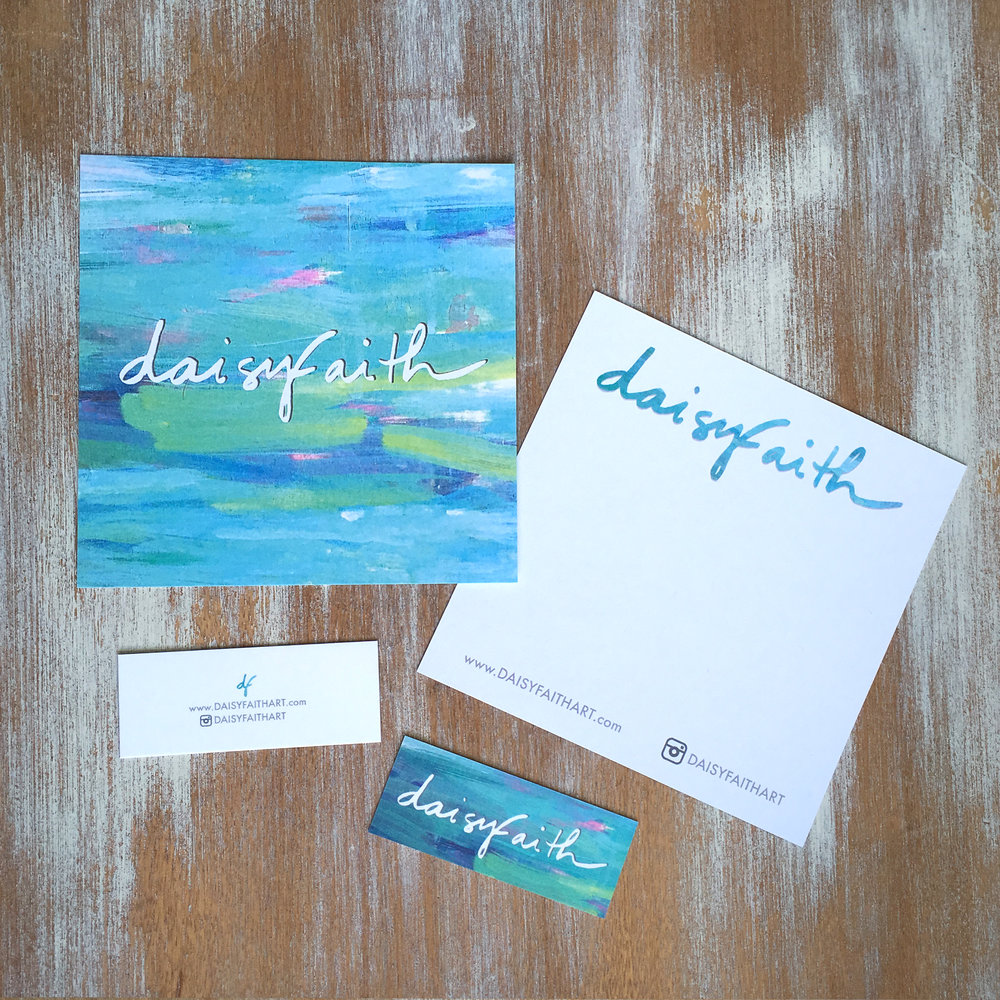 Daisy Faith Art - Here are the postcards and business cards I typeset and designed for painter & artist, Daisy Faith. www.DaisyFaithArt.com