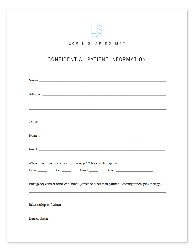 Confidential Patient Information Form - Lorin Shapiro MFT