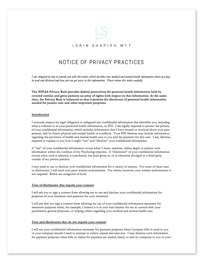 HIPAA Privacy Policies Form - Lorin Shapiro MFT
