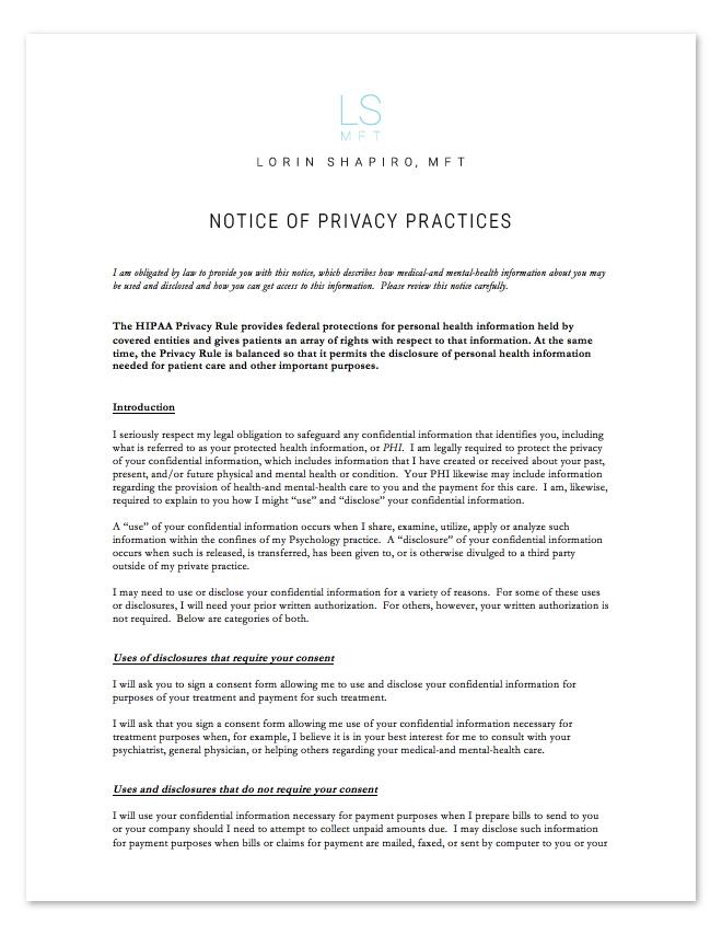 HIPAA Privacy Policies Form - Lorin Shapiro MFT
