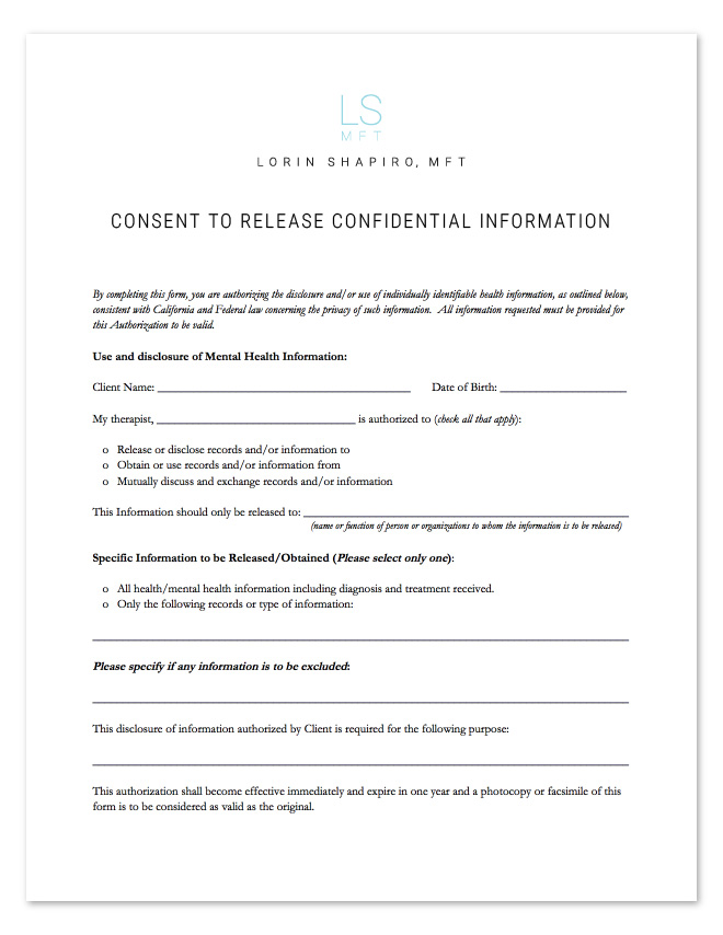 Consent to Release Confidential Information Form - Lorin Shapiro MFT