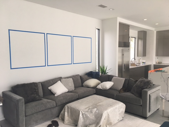 Clients and I have been known to tape off sections of their walls to help visualize future commissions. I highly suggest this technique once I come up with your measurements (if I am unable to do it myself)!