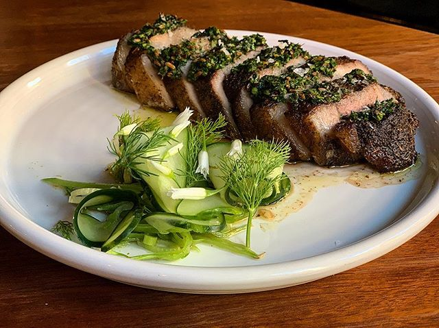 New menu item: pepper crusted pork (coppa) steak with toasted fennel, Japanese cucumber and onion blossoms. Also, it's Monday, so that means no corkage fee! #theeddynyc #eastvillage #nocorkage #nocorkagefee #nycwine #pinosprimemeats #pork #coppa #nycrestaurants #japanesecucumber #onionblossoms