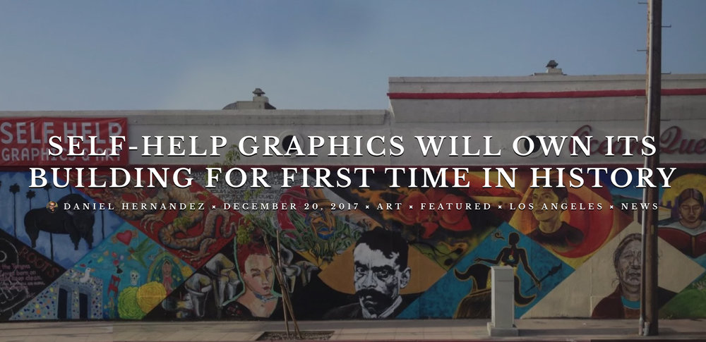 Self-Help Graphics & Art, the Eastside arts institution that's been around for more than 40 years, may have beat back the tide of gentrification and rising rents in Boyle Heights and will be owner of the building it occupies.  The organization that began in the heyday of the Chicano Movement with  Sister Karen Boccalero  just finished the year with a double-dose of funding from local government agencies, ensuring it can stay at its  current location  just east of the L.A. River. It will be the first time in its history that the organization will own a building for its array of exhibits, printmaking, festivals, and workshops.  Yesterday (Dec. 19), Self-Help announced it is receiving $450,000 in redevelopment funding from the L.A. County Board of Supervisors. Along with $825,000 secured  earlier this month  in redevelopment funding from the City Council, this means the organization has enough to buy the state-owned site it currently uses on East 1st Street, in the flats of Boyle Heights.  Continue Reading...