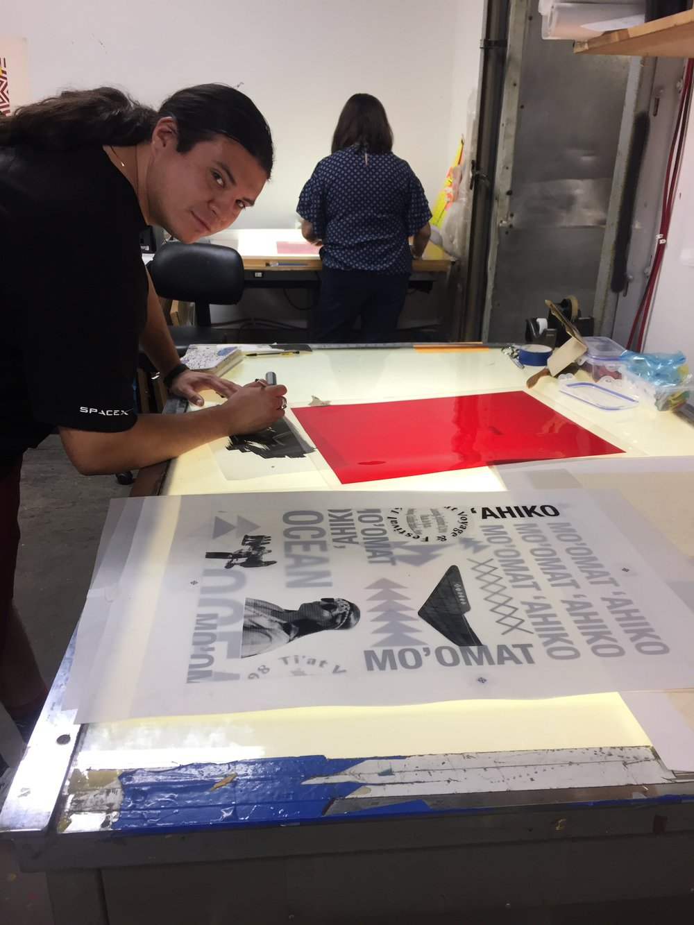 Garza in the process of making  Breath of The Ocean  for the 45th Annual Print Fair and Exhibition.