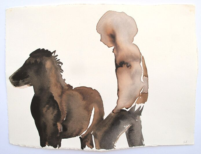 'Pony and Boy', giclee print of original watercolour.