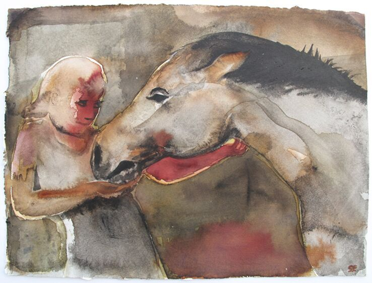 'Girl with Horse', giclee print of original watercolour.