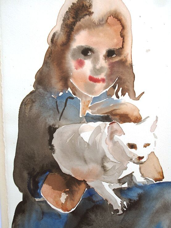 'Girl Stroking a Cat', giclee print original watercolour.