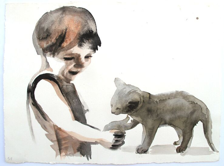 'Little Kitten', giclee print of original watercolour on Hahnemuhle paper