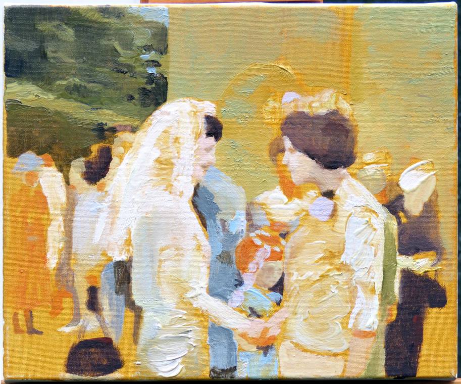'Margaret-Ann's wedding', oil on canvas 30 x 25cm