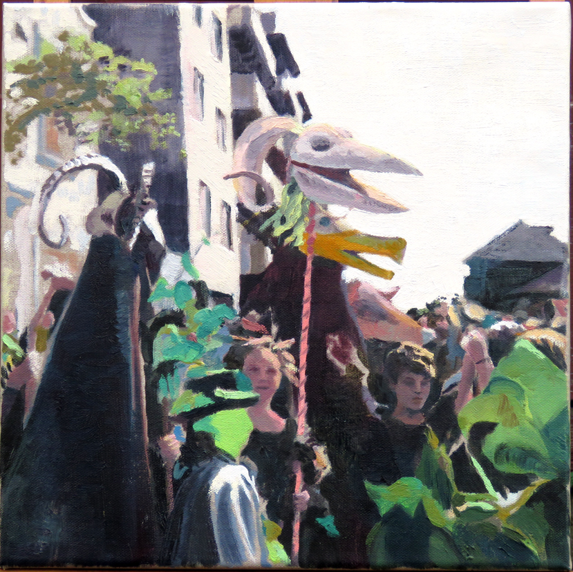 'Outside Pete's studio, Jack-in-the-Green'', oil on canvas 30 x 30cm