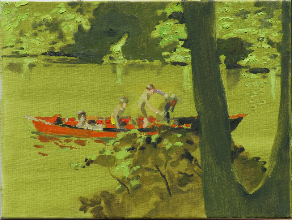 'Green lake at Mary's festival' oil on canvas 35 x 25cm