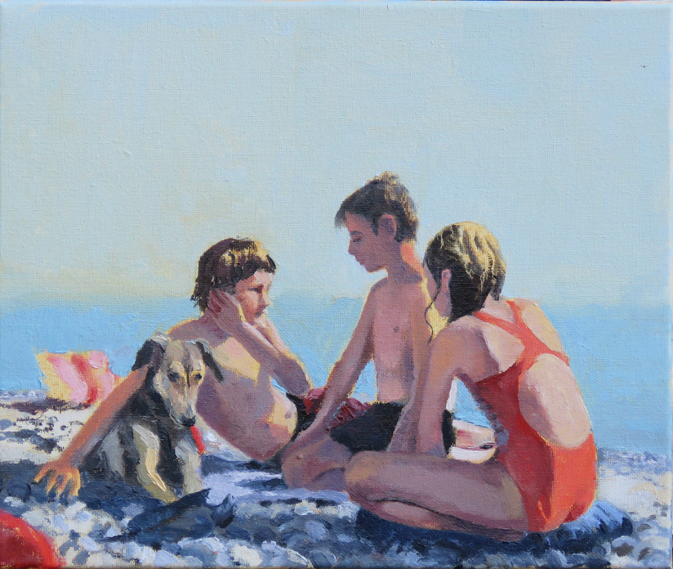 'Beach day with Jools', oil on canvas, 30 x 25cm