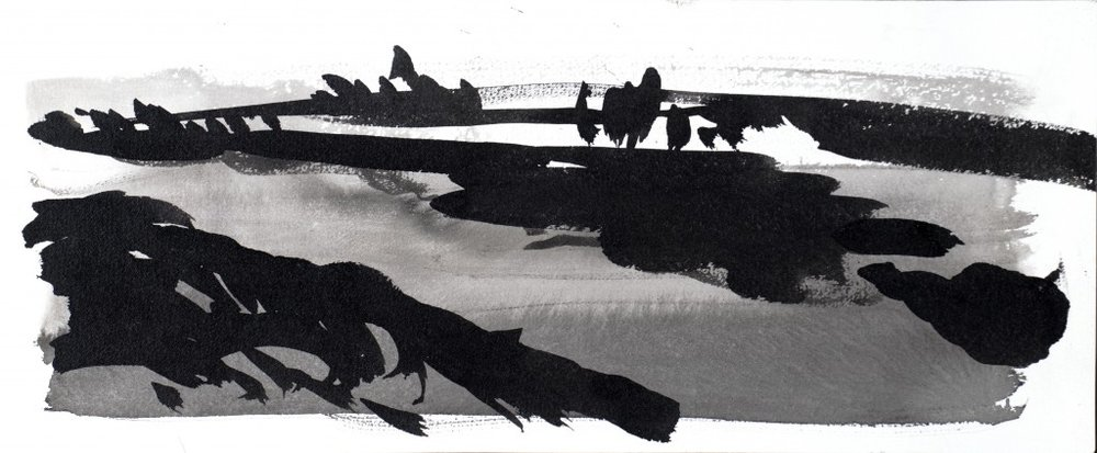 'Towards Rye Harbour' Giclee print of black and white watercolour study, printed on 310g Huhnemuhle etching paper