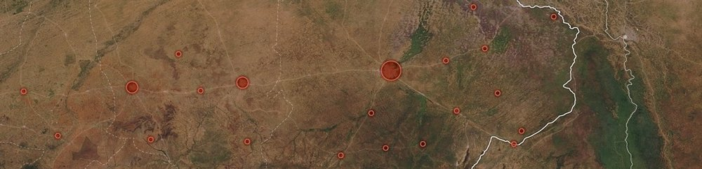 Locations of violence perpetrated by Boko Haram in Nigeria