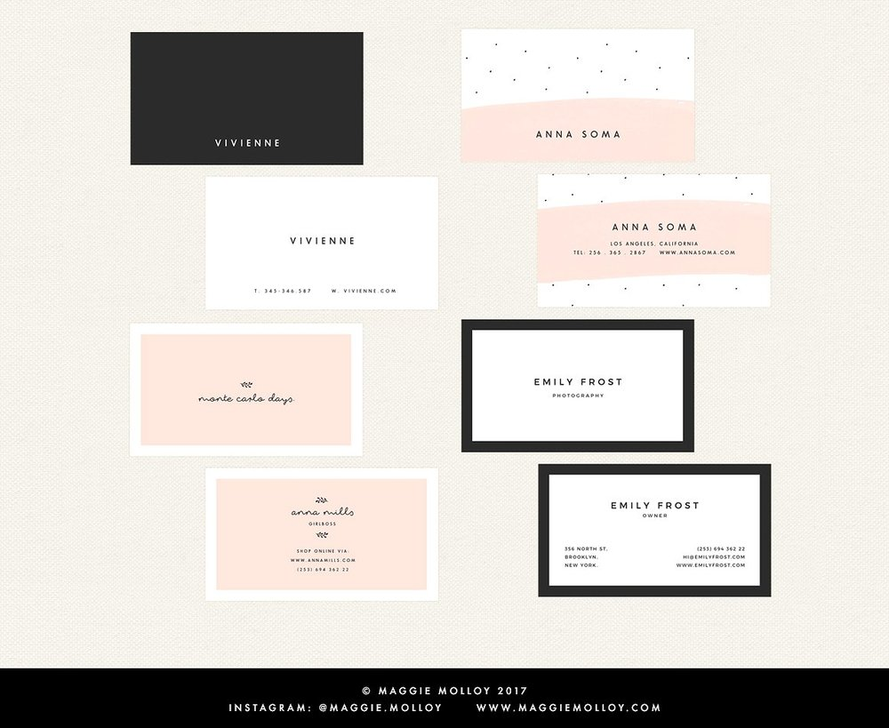 7 Of My Favorite Modern Business Card Templates — Jen Wagner Co.