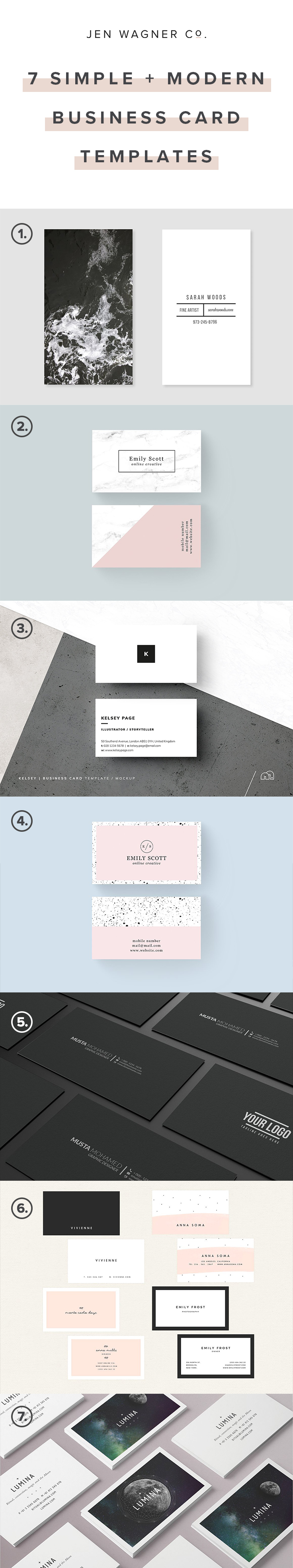 7 of my favorite modern business card templates jen wagner co 7 simple modern business card templatesg fbccfo Choice Image