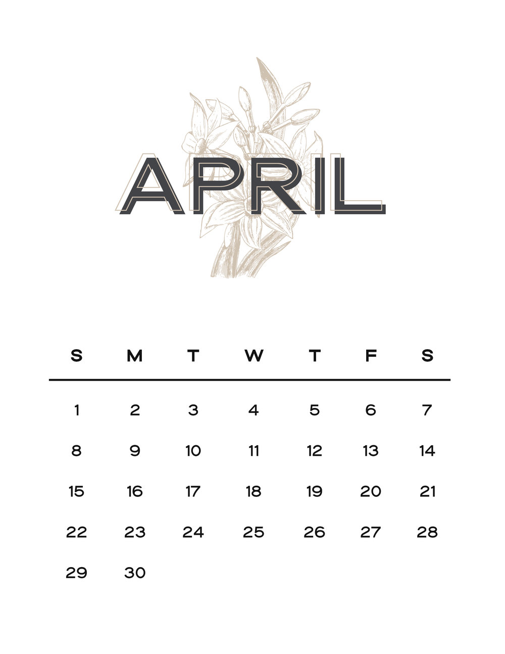 April Free Modern Design Printable Calendar Jen Wagner Co.
