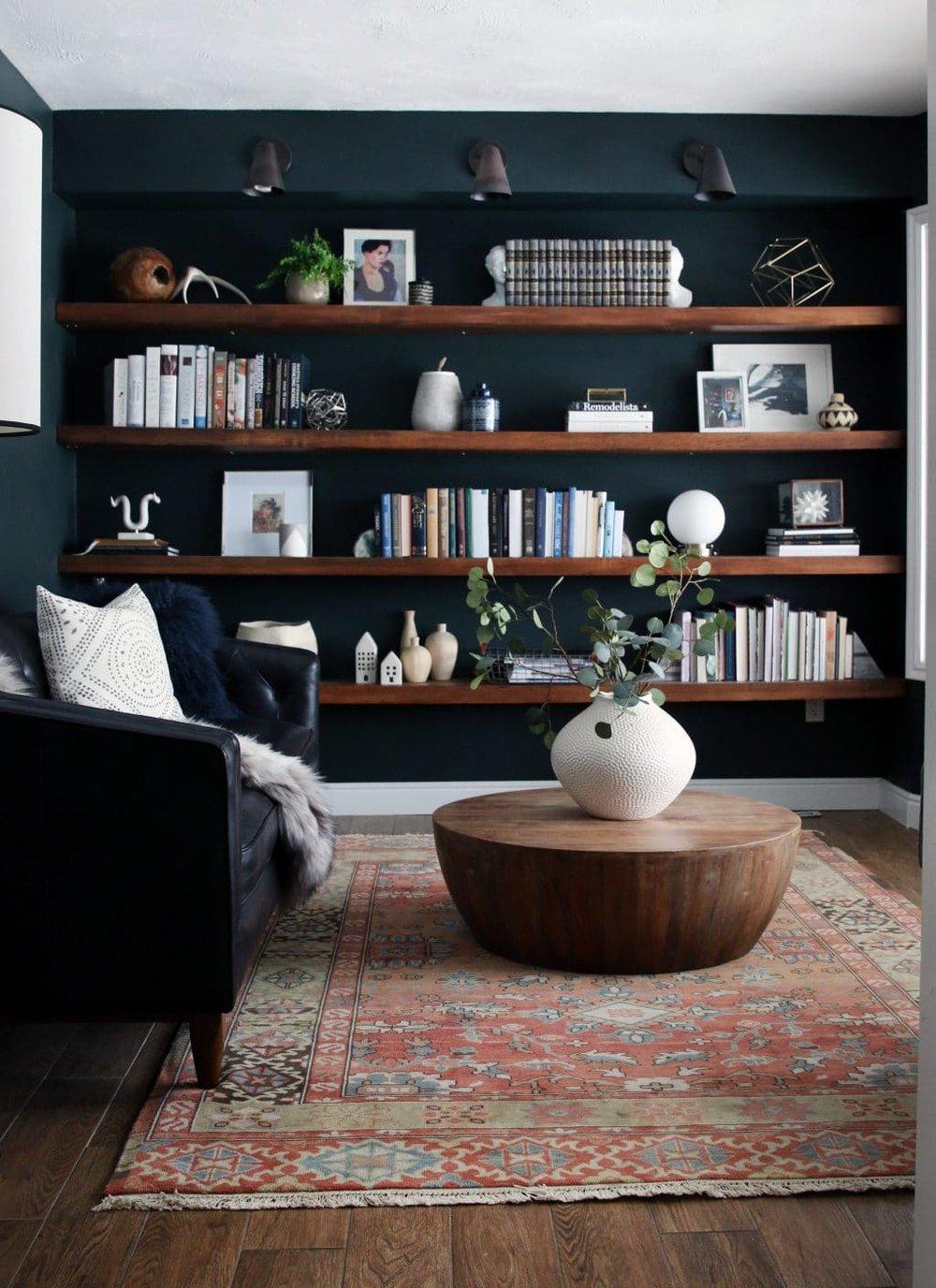 built in wall book shelves from Chris Loves Julia