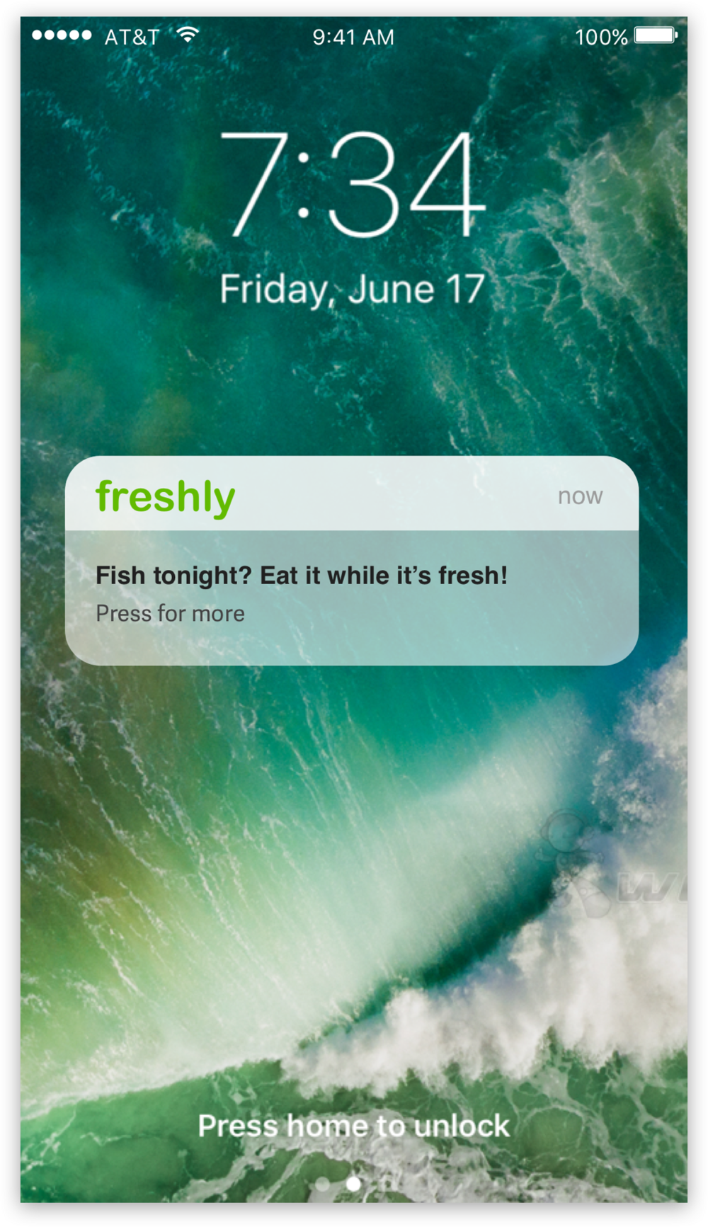 Freshly sends friendly reminders through push notifications. Prompting users on which products need to be cooked or eaten as soon as possible.