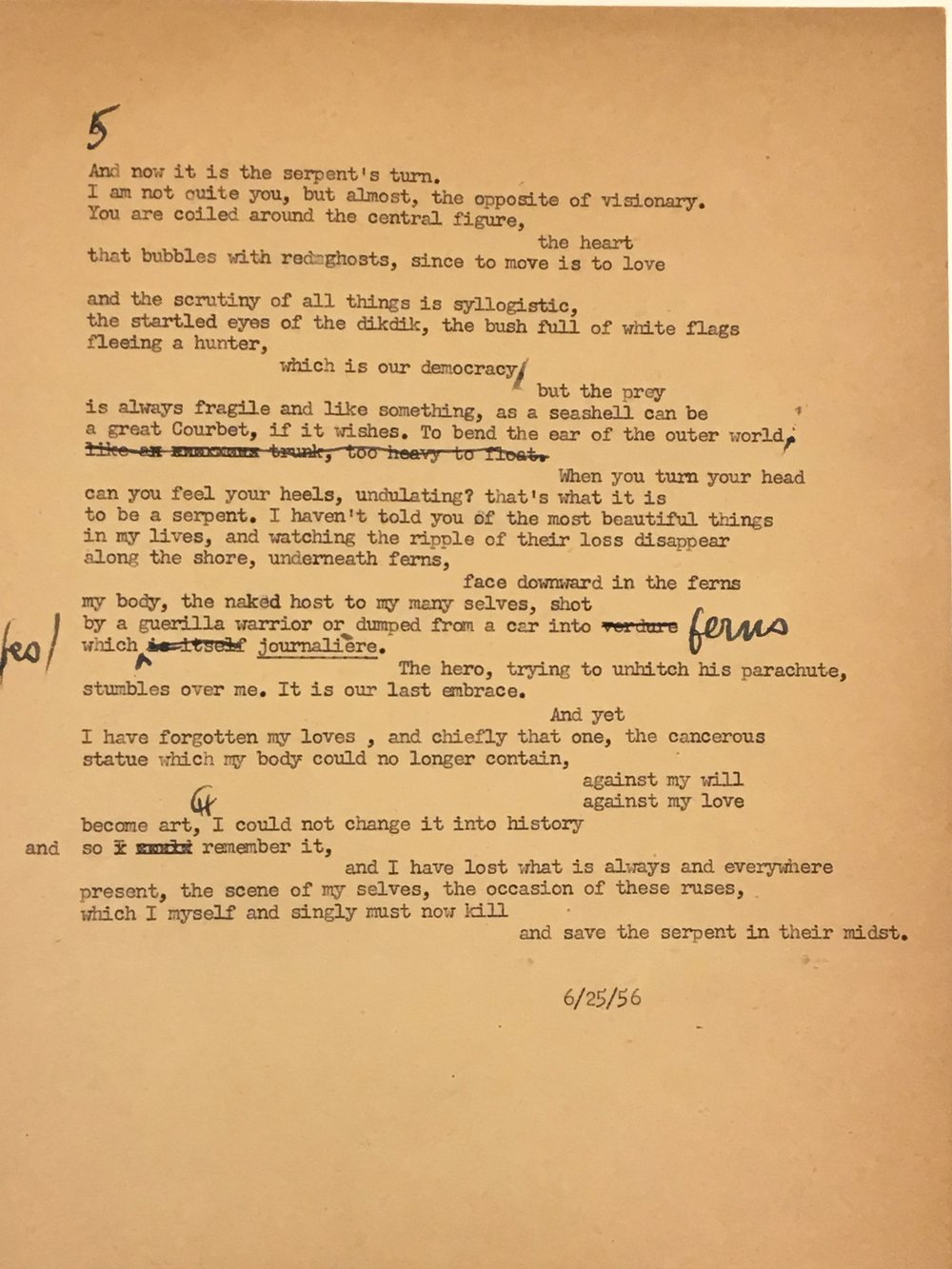 """Frank O'Hara, """"In Memory of My Feelings"""" (Section 5) (Photography of manuscript from Tiber Press Archives, Harvard University)"""
