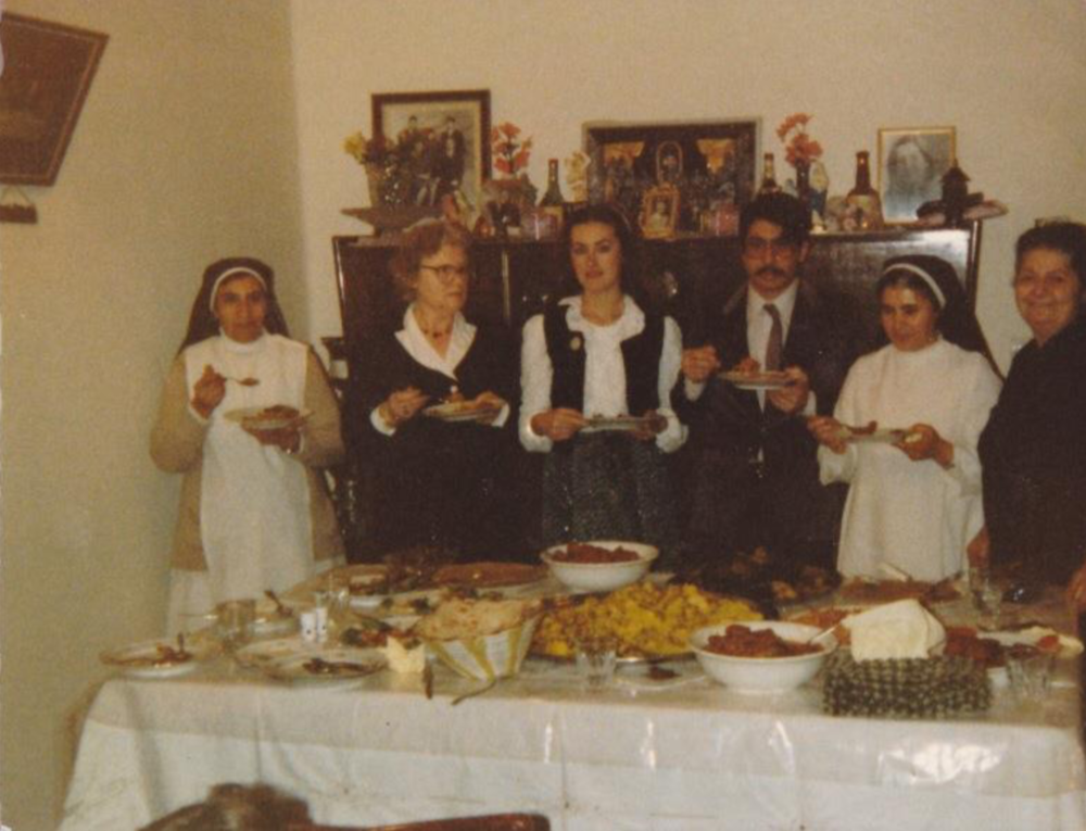 Photo of my parents, my grandmothers, and two Iraqi nuns in the early 1980s in Mosul, Iraq.