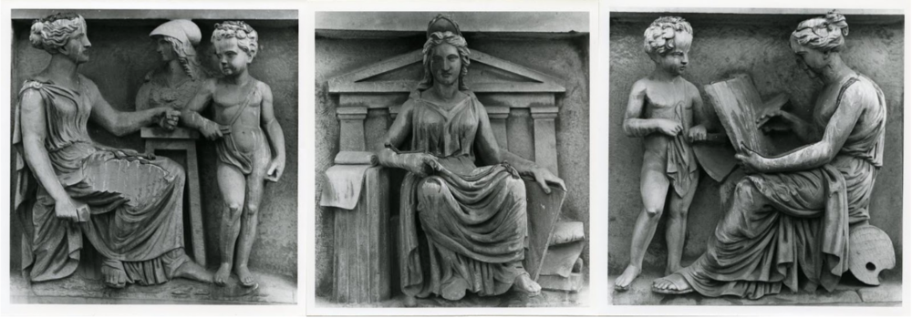 John Henning's sculptures adorning the north wing of the RMI, Sculpture, Architecture and Painting Credit: Manchester City Galleries