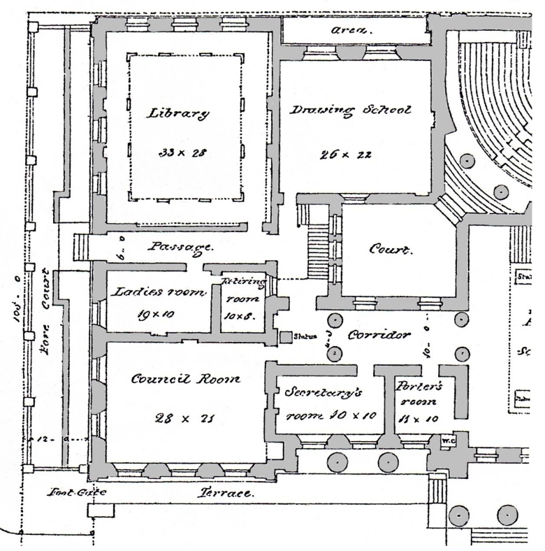 Detail of the North Wing Ground Floor Plan showing what is now Galleries 1 & 2 and the Mary Gregg Meeting Room credit: Manchester City Galleries
