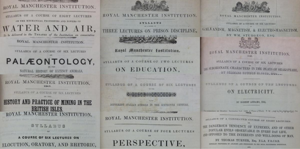 Selection of lecture syllabuses given at the RMI credit: Manchester City Galleries