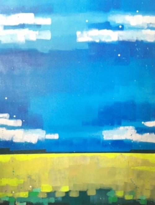 "Highway 16  30x40""  acrylic on canvas  $1000"