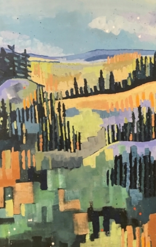 "Lush Greens  30x48""  acrylic on canvas  $1000"
