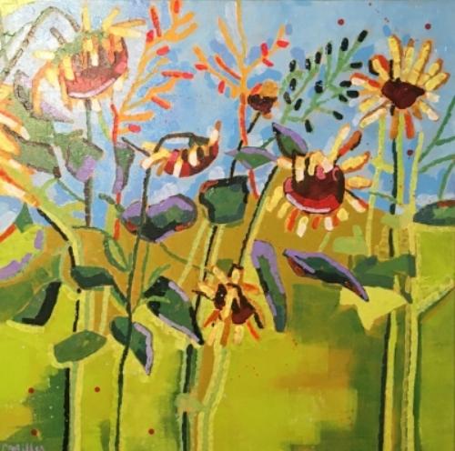 """Sunflowers  30x30""""  acrylic on canvas  $845"""