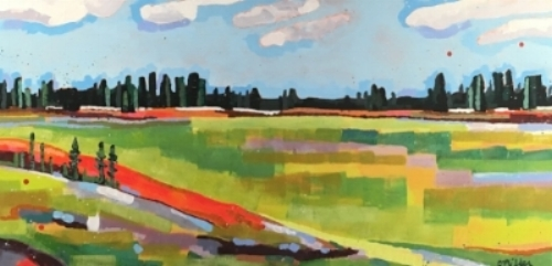 "Spring Foilage  48x24""  acrylic on canvas  $1000"