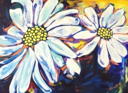 "Daisies from the Garden  30x40""  acrylic on canvas  $800"