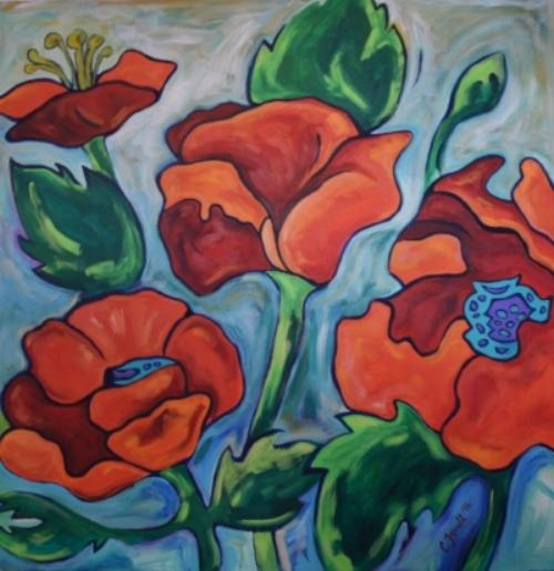 "Poppies  48x48""  acrylic on canvas  $1800"