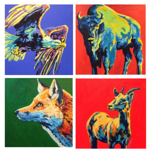 "Mr. Eagle Mr. Moose Mr. Fox SOLD  24x24""  acrylic on canvas  $550 each"