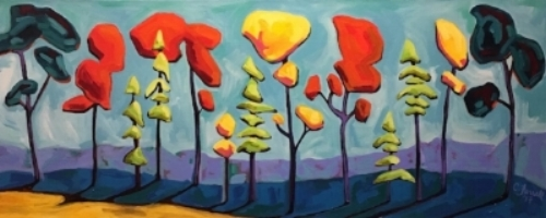 """View from my Deck1  16x40""""  acrylic on canvas  $800"""
