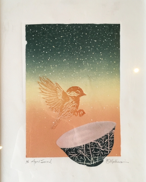 April Second  #6 of addition of 8  woodblock print  $250.00