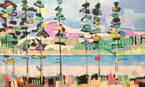 "Trees Align  30x48""  acrylic on canvas  $1050"