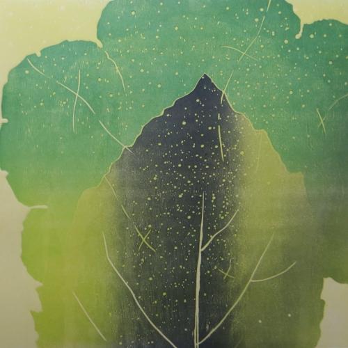 Rain a/p  wood block print  $650